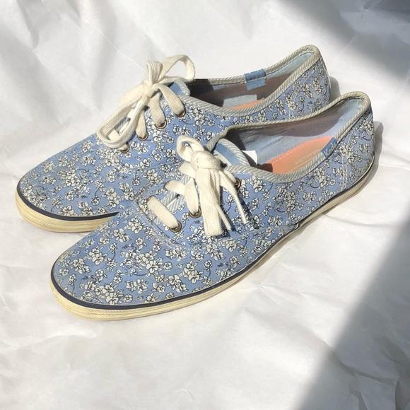 Keds Floral Light Blue Lace Up Shoes 85